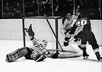 Seals Gilles Meloche blocks shot by St. Louis Blues #20. (1972 photo by Ron Riesterer)