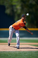 Baltimore Orioles pitcher Ofelky Peralta (26) delivers a pitch during a minor league Spring Training game against the Minnesota Twins on March 17, 2017 at the Buck O'Neil Baseball Complex in Sarasota, Florida.  (Mike Janes/Four Seam Images)