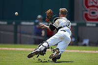 Army Black Knights catcher Jon Rosoff (7) makes a throw to first base against the North Carolina State Wolfpack at Doak Field at Dail Park on June 3, 2018 in Raleigh, North Carolina. The Wolfpack defeated the Black Knights 11-1. (Brian Westerholt/Four Seam Images)