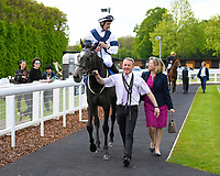 Winner of The Byerley Stud British EBF Fillies' Handicap Bella Vita ridden by Charles Bishop and trained by Eve Johnston Houghton is led into the Winners enclosure  during Afternoon Racing at Salisbury Racecourse on 16th May 2019