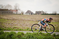 "Hiroki Nishimura (JAP/Nippo Vini Fantini Faizanè) attempting a ""Froomey"" escape from the peloton<br /> <br /> 74th Nokere Koerse 2019 <br /> One day race from Deinze to Nokere / BEL (196km)<br /> <br /> ©kramon"