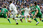 "Real Madrid's player Francisco Roman ""Isco"" and Cristiano Ronaldo Leganes's  player Martin Maximiliano Mantovani and Unai Bustinza during a match of La Liga at Santiago Bernabeu Stadium in Madrid. November 06, Spain. 2016. (ALTERPHOTOS/BorjaB.Hojas)"