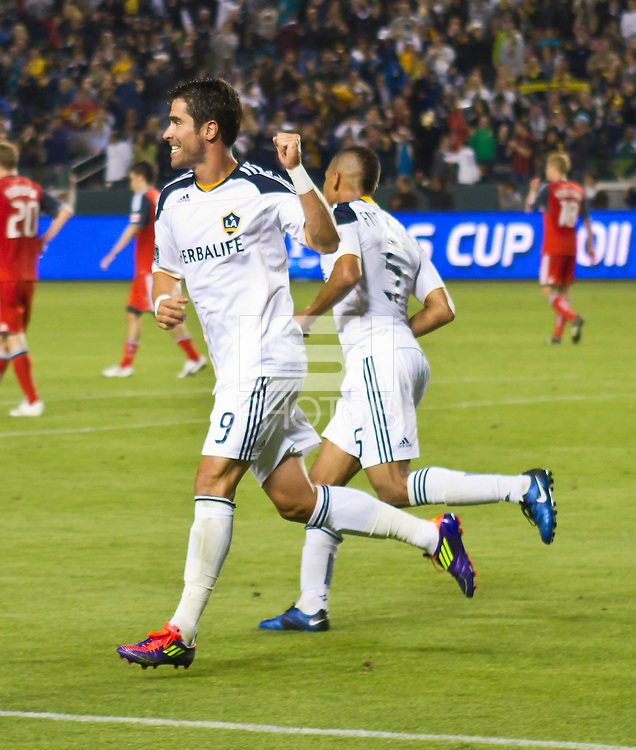 CARSON, CA – June 11, 2011: LA Galaxy forward Juan Pablo Angel (9) celebrates his goal during the match between LA Galaxy and Toronto FC at the Home Depot Center in Carson, California. Final score LA Galaxy 2, Toronto FC 2.