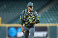 Baylor Bears relief pitcher Daniel Caruso (31) looks to his catcher for the sign against the Arkansas Razorbacks in game nine of the 2020 Shriners Hospitals for Children College Classic at Minute Maid Park on March 1, 2020 in Houston, Texas. The Bears defeated the Razorbacks 3-2. (Brian Westerholt/Four Seam Images)