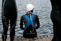 14 MAY 2010 - HOLME PIERREPONT, GBR - A competitor waits for the start of the VUE National Emergency Services Triathlon Championships (PHOTO (C) NIGEL FARROW)