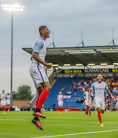 Marcus Rashford (Manchester United) of England celebrates scoring his U21 debut during the International EURO U21 QUALIFYING - GROUP 9 match between England U21 and Norway U21 at the Weston Homes Community Stadium, Colchester, England on 6 September 2016. Photo by Andy Rowland / PRiME Media Images.