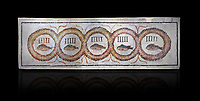 Pictures of a geometric Roman doorstep mosaics depicting five fishes surrounded by bars and a medallion, from the ancient Roman city of Thysdrus. 3rd century AD The Small Baths in the M'barek Rhaiem area. El Djem Archaeological Museum, El Djem, Tunisia. Against a black background<br /> <br /> The mosaic depicts the emblem of the Pentasii, a powerful Nortyh African Roman association that organised and  maintained the wild animals and hired animal killers to carry on the games in ampitheatres.