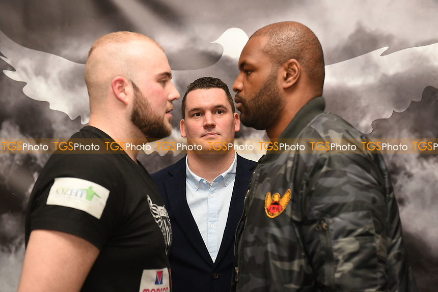 Nathan Gorman (L) and Dominic Akinlade go head to head during a DoveBox Promotions Press Conference at the Landmark Hotel on 9th March 2017