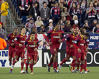 Real Salt Lake defender Chris Schuler (28) celebrates his goal with teammates. In a Major League Soccer (MLS) match, Real Salt Lake defeated the New England Revolution, 2-0, at Gillette Stadium on April 9, 2011.