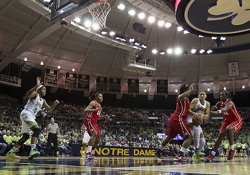 January 13, 2013:  A general view as Notre Dame forward Natalie Achonwa (11) drives to the basket during NCAA Basketball game action between the Notre Dame Fighting Irish and the Rutgers Scarlett Knights at Purcell Pavilion at the Joyce Center in South Bend, Indiana.  Notre Dame defeated Rutgers 71-46.