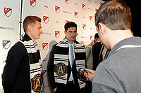Philadelphia, PA - Thursday January 19, 2018: Gordon Wild, Oliver Shannon during the 2018 MLS SuperDraft at the Pennsylvania Convention Center.