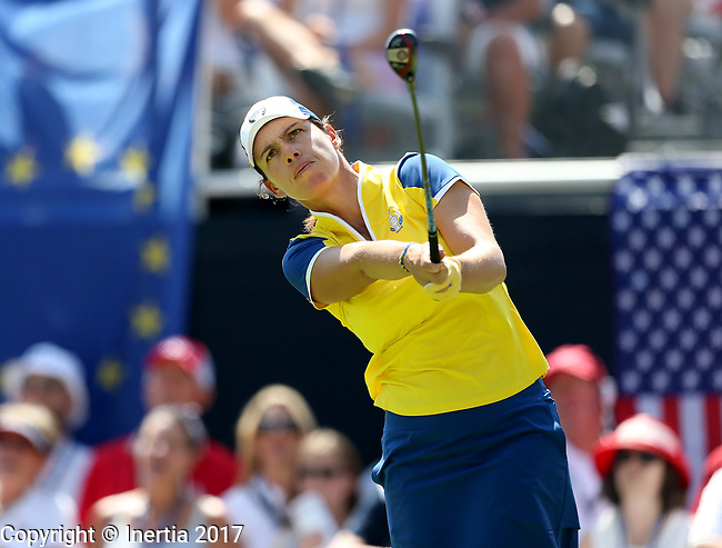 DES MOINES, IA - AUGUST 19: Europe's Karine Icher watches her tee shot on the 1st hole of their afternoon four-ball match Saturday at the 2017 Solheim Cup in Des Moines, IA. (Photo by Dave Eggen/Inertia)