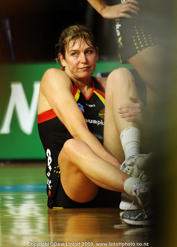 Magic's Irene Van Dyk after the loss during the ANZ Netball Championship match between the Waikato Bay of Plenty Magic and Adelaide Thunderbirds, Mystery Creek Events Centre, Hamilton, New Zealand on Sunday 19 July 2009. Photo: Dave Lintott / lintottphoto.co.nz