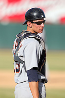 Salt River Rafters catcher Rob Brantly #19 during an Arizona Fall League game against the Phoenix Desert Dogs at Phoenix Municipal Stadium on November 1, 2011 in Phoenix, Arizona.  Salt River defeated Phoenix 10-7.  (Mike Janes/Four Seam Images)