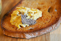 scrambled egg fresh black truffles and bread rhone france