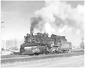 D&amp;RGW #485 K-36 with plow on pilot in Alamosa.<br /> D&amp;RGW  Alamosa, CO  12/3/1948