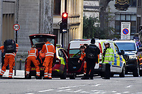 Armed police dealing with terrorist incident at London Bridge.<br /> A terrorist killed 2 and injured up to 12 before being wrestled to the ground by passers-by.  Police dragged the man away and shouted warnings to him before shooting him dead.<br /> London, England on November 29, 2019.<br /> CAP/JOR<br /> ©JOR/Capital Pictures