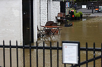 Pictured: The flooded entrance and cafe area at Aberdulais Falls in south Wales, UK. Saturday 13 October 2018<br /> Re: Flooding caused by Storm Callum in Aberdulais near Neath, south Wales, UK.