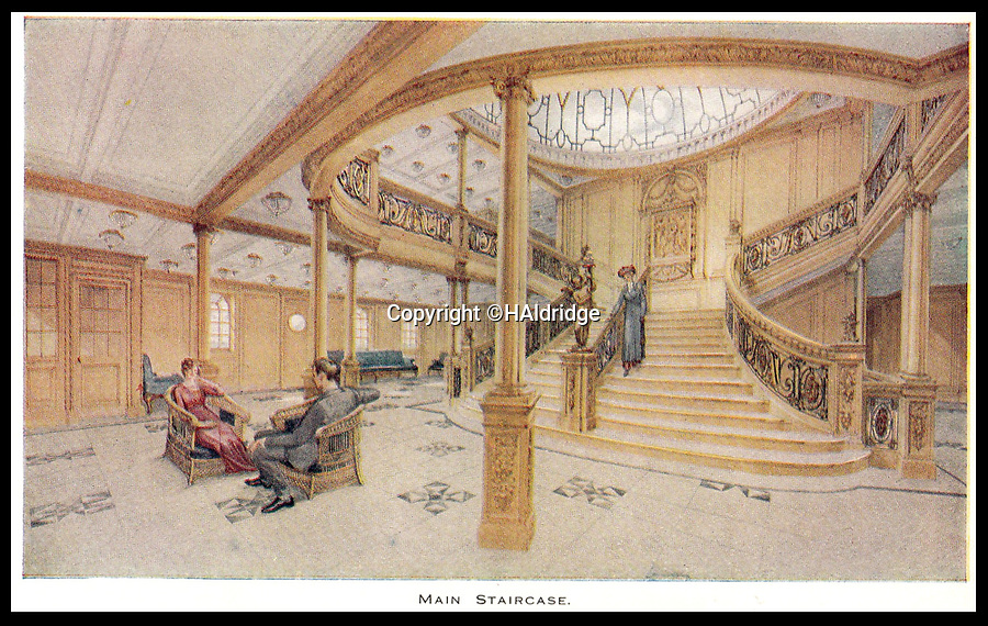 BNPS.co.uk (01202 558833)<br /> Pic: HAldridge/BNPS<br /> <br /> The famous main staricase on the Titanic.<br /> <br /> A rare holiday brochure for the Titanic has surfaced after 106 years.<br /> <br /> The brochure was specifically aimed at rich first and second class passengers and contained colourful images of the most luxurious parts of the doomed liner.<br /> <br /> It walked the reader through different parts of the 'unsinkable' ship, from the opulent reception room, to the Louis XVI period designed restaurant and the promenade deck.<br /> <br /> The sumptuous state rooms that cost the equivalent of £40,000 to stay in, are featured in the fascinating brochure as is the famous grand staircase that featured heavily in the 1997 movie starring Kate Winslet.