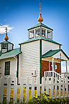 Close up of Holy Transfiguration of Our Lord Chapel on a sunny day, Ninilchik, Kenai Penisaula, Southcentral Alaska, Summer.
