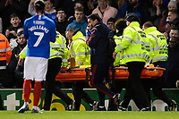 Lucas Torreira of Arsenal is stretchered off during Portsmouth vs Arsenal, Emirates FA Cup Football at Fratton Park on 2nd March 2020