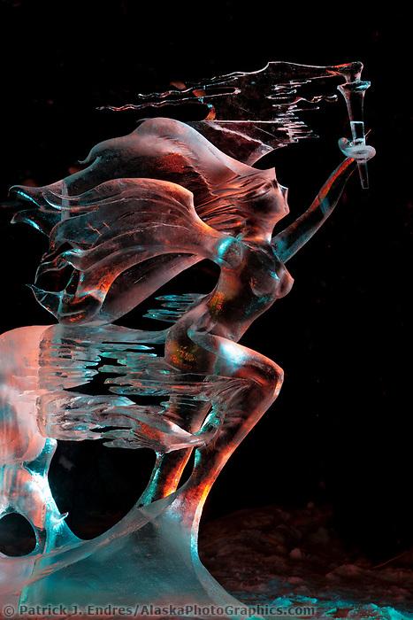 "Mongolian sculptors Rashaanjav Tuvshintur and Tserendash Batmunkh, abstract single block sculpture titled ""Evolution"", 2009 World Ice Art Championships in Fairbanks, Alaska. Abstract category 7th place."