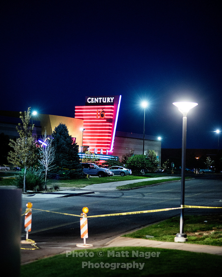 The Aurora Century 16 movie theater where James Holmes (cq), 24, who is in custody and is suspected of killing 12 people and wounding many more in Aurora, Colorado, Friday, July 20, 2012. The shootings occurred during the midnight premiere of the new Dark Knight Batman movie...Photo by MATT NAGER