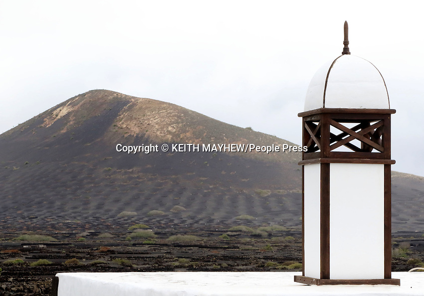LANZAROTE, CANARY ISLANDS - Traditional chimneys in the beach resort of Costa Teguise during January 2016 in Lanzarote, Canary Islands<br /> <br /> Photo by Keith Mayhew