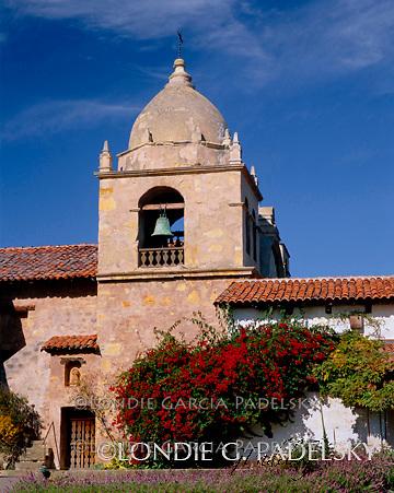 Bell Tower at Mission San Carlos de Borromeo de Carmelo,  a National Historic Landmark at Carmel, California