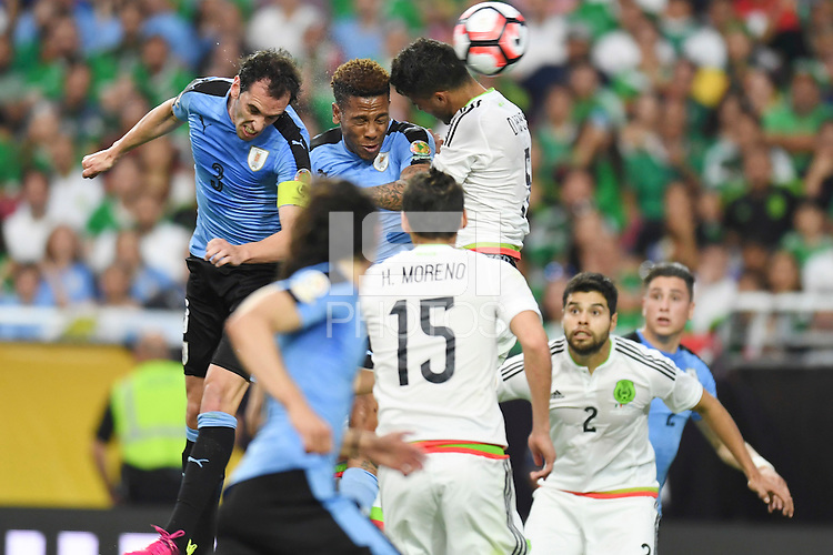 Action photo during the match Mexico vs Uruguay, Corresponding Group -C- America Cup Centenary 2016, at University of Phoenix Stadium<br /> <br /> Foto de accion durante el partido Mexico vs Uruguay, Correspondiante al Grupo -C-  de la Copa America Centenario USA 2016 en el Estadio de la Universidad de Phoenix, en la foto: (i-d) Diego Godin de Uruguay y Diego Reyes de Mexico<br /> <br /> <br /> 05/06/2016/MEXSPORT/Omar Martinez.
