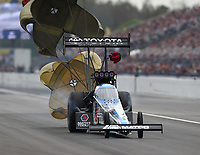 Mar 16, 2019; Gainesville, FL, USA; NHRA top fuel driver Antron Brown during qualifying for the Gatornationals at Gainesville Raceway. Mandatory Credit: Mark J. Rebilas-USA TODAY Sports