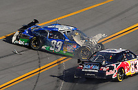 Apr 26, 2009; Talladega, AL, USA; NASCAR Sprint Cup Series driver Carl Edwards (99) crashes on the last lap during the Aarons 499 at Talladega Superspeedway. Mandatory Credit: Mark J. Rebilas-