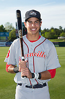 Mauricio Dubon (10) of the Greenville Drive poses for a photo prior to the game against the Kannapolis Intimidators at CMC-Northeast Stadium on April 28, 2015 in Kannapolis, North Carolina.  The Intimidators defeated the drive 3-2.  (Brian Westerholt/Four Seam Images)
