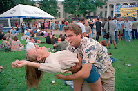 Saint Petersburg, Russia, 27/07/002..The mid-summer White Nights period when the sun sets only briefly is a time of festivals & entertainment: the Neva Delta Blues festival in a city centre park..