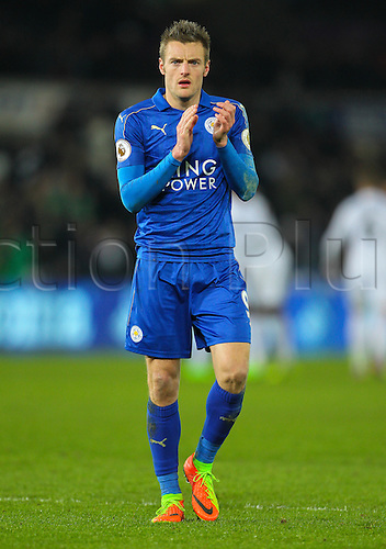 February 12th 2017, Liberty Stadium, Swansea, Wales; Premier league football, Swansea versus Leicester City; Leicester City's Jamie Vardy applauds the fans at the end of the match