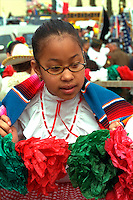 Parade participant age 11 at Cinco de Mayo festival.  St Paul Minnesota USA