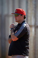 Illinois State Redbirds head coach Bo Durkac during practice before a game against the Indiana Hoosiers on March 4, 2016 at North Charlotte Regional Park in Port Charlotte, Florida.  Indiana defeated Illinois State 14-1.  (Mike Janes/Four Seam Images)