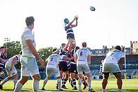 Zach Mercer of Bath United rises high to win lineout ball. Aviva A-League match, between Bath United and Saracens Storm on September 1, 2017 at the Recreation Ground in Bath, England. Photo by: Patrick Khachfe / Onside Images