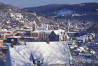 AJ4665, Vermont, winter, Montpelier, downtown, A scenic aerial view of the small snow covered capital city of Montpelier in the winter in Washington County in the state of Vermont.