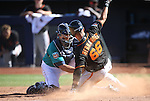 SF Giants' Gorkys Hernandez is tagged out at home by Seattle Mariners' Steve Baron in a spring training game in Peoria, Ariz., on Wednesday, March 16, 2016. <br />
