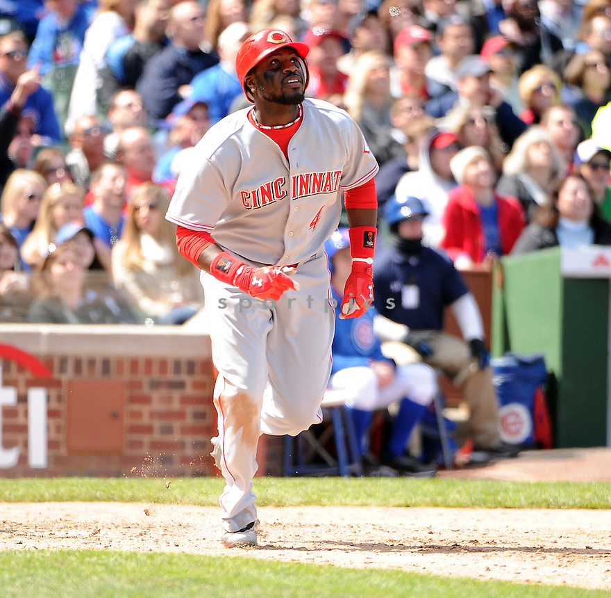 BRANDON PHILLIPS, of the Cincinnati Reds, in action during the Reds game against the Chicago Cubs on April 21, 2012, at Wrigley Field in Chicago, IL. The Cubs beat the Reds 6-1.
