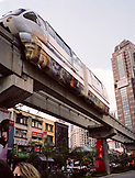 MALAYSIA, Asia, low angle view of monorail in downtown