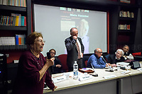 """Luciana Romoli (Antifascist Partizan. Member of the Partigiani: the Italian Resistance during WWII).<br /> <br /> Rome, 07/11/2018. Today, ANPI Roma (National Association of Italian Partizans, Members of the Italian Resistance) celebrated the 100th birthday of Partizan GAP Commander Prof. Mario Fiorentini holding a fully booked public event at the Casa della Memoria e della Storia di Roma (House of Memory and History of Rome). Mario Fiorentini (AKA, Giovanni, as the Apostle; Gandhi, due to be very skinny; Fringuello, due to a launch with a parachute; Dino, as he is called in Piedmont, https://bit.ly/2PL1IHn) was the Commander of the GAP """"Antonio Gramsci"""" in Rome. The GAPs - Gruppi di Azione Patriottica (Patriotic Action Groups, https://bit.ly/2K3jCmJ) were famous because their members, called """"Gappisti"""", carried out acts of sabotage & guerrilla warfare against nazi-fascist troups in cities such as Rome, Milan, Genova, Bologna and others. In Rome, Mario Fiorentini, along with his wife Lucia Ottobrini """"Maria"""" and other partizans, took part in numerous acts of guerrilla including the """"Attack of Via Rasella"""" on 23 March 1944 (Aredeatine Massacre on Wikipedia, https://bit.ly/2ASTk0a). The Man of """"Three Lives in One"""", as Mario Fiorentini is usually described: """"Humanist, GAP Partizan, Mathematician"""", was a roman communist intellectual member of a Jewish family who joined the Partizans Resistance (https://bit.ly/20uiWFf) after the 8 September 1943 Armistice. Subsequently the end of WWII, Mario, helped by his wife, studied maths becaming Professor of Superior Geometry at the University of Ferrara and a globally-known Mathematichian.<br /> <br /> More info about event & organisers:  https://bit.ly/2D96uYA & https://bit.ly/2SUD3yZ<br /> ANSA Doc (in ITA) """"Mario e Lucia, di guerra e d'amore"""" https://bit.ly/1Dg7Ntj"""