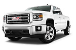 Low aggressive front three quarter view of a 2014 GMC Sierra 1500 SLE Crew Cab