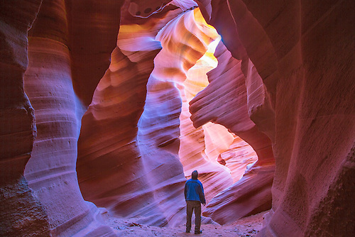 Bright hues of orange,magenta and yellow come alive at Antelope Canyon, Arizona