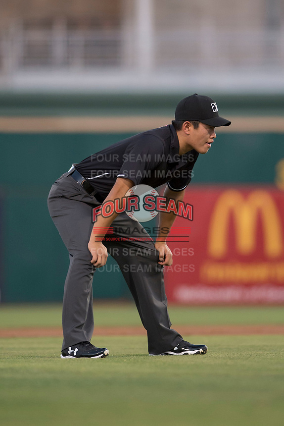 Field umpire Shin Koishizawa during an Arizona League game between the AZL White Sox and the AZL Indians 1 at Goodyear Ballpark on June 20, 2018 in Goodyear, Arizona. AZL Indians 1 defeated AZL White Sox 8-7. (Zachary Lucy/Four Seam Images)