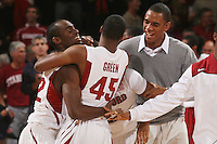 STANFORD, CA - JANUARY 6:  Da'Veed Dildy, Jeremy Green, and Josh Owens of the Stanford Cardinal after Stanford's 54-53 win over the USC Trojans on January 6, 2009 at Maples Pavilion in Stanford, California.