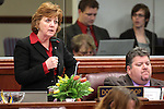 Nevada Assemblywoman Marilyn Dondero Loop, D-Las Vegas, speaks on the Assembly floor Thursday, May 26, 2011, at the Legislature in Carson City, Nev. Assemblyman Richard Carrillo, D-Las Vegas, is at right..Photo by Cathleen Allison