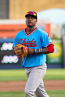 Peoria Chiefs third baseman Elehuris Montero (39) heads to third base between innings during a Midwest League game against the Quad Cities River Bandits on May 27, 2018 at Modern Woodmen Park in Davenport, Iowa. Quad Cities defeated Peoria 8-3. (Brad Krause/Four Seam Images)