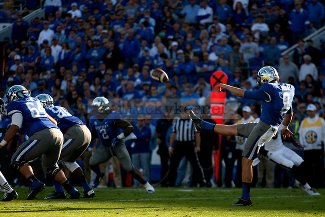 Punter Landon Foster of the Kentucky Wildcats punts the ball during the first half of the game against the Mississippi State Bulldogs at Commonwealth Stadium on Saturday, October 25, 2014 in Lexington, Ky. Mississippi State defeated Kentucky 45-31.Photo by Michael Reaves | Staff